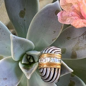 Vintage Jewelry - Two-Toned Gold and Silver Rhinestone Ring